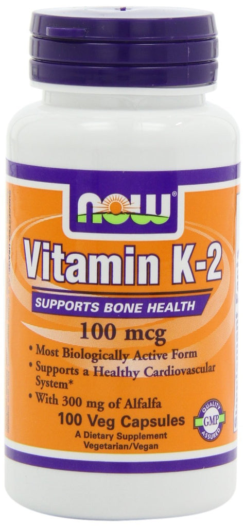NOW Foods Vitamin K-2,100mcg, 100 Vcaps Most Biologically Active Form Supports a Healthy Cardiovascular System