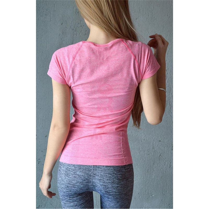 Women Fitness Sports Quick-Drying Perspicuousness Short-Sleeve T-Shirt