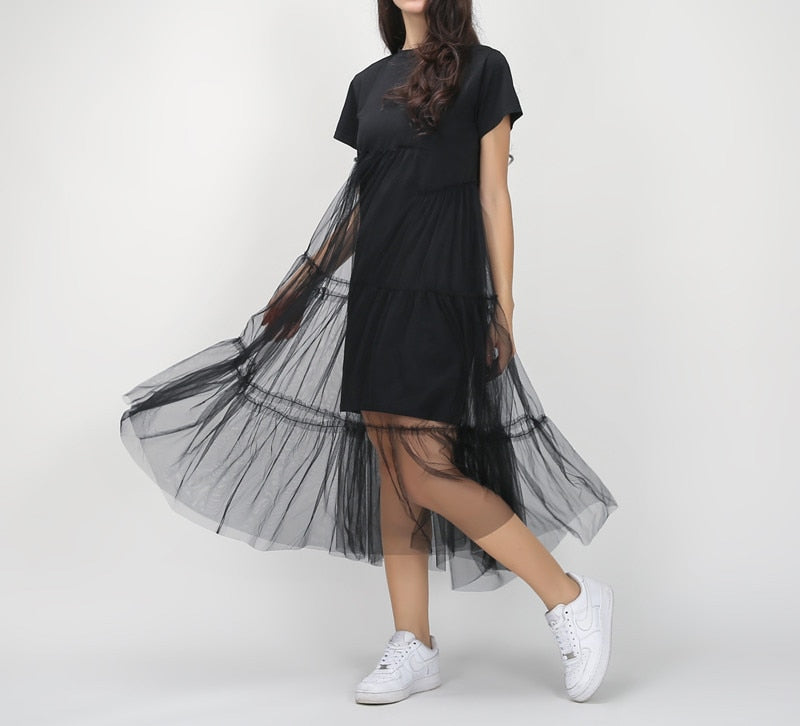 Korean Style Draped Splicing Pleated Tulle T-shirt Dress