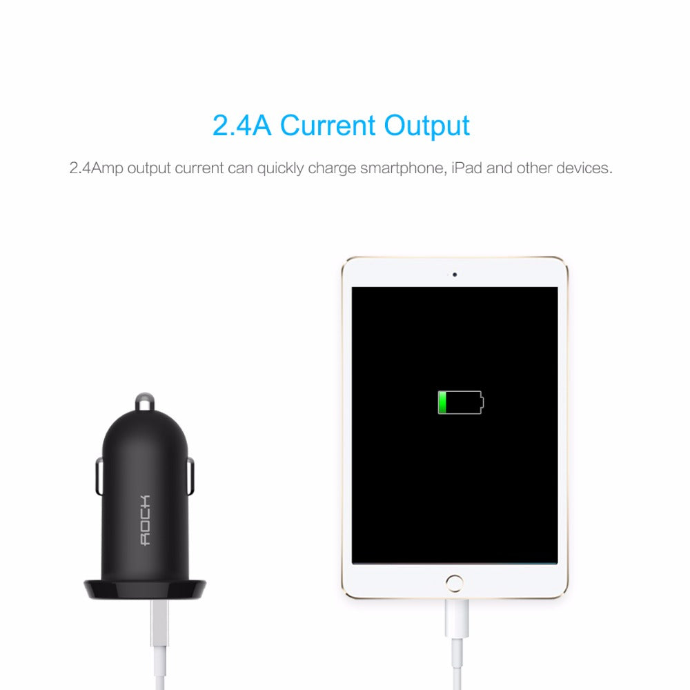 Car Charger Dual USB output 2.4A Travel Adapter Cigar Lighter DC 12-24V