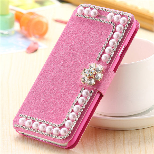 Luxury Pearl Silk Leather Case For iPhone 6 6s 7 Plus 5S SE Card Slot