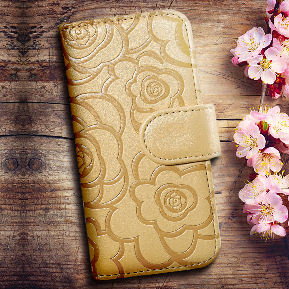 Flower Flip Leather Case For Samsung Galaxy S6 S7 Edge Plus & iPhone 6 6S 7 Plus