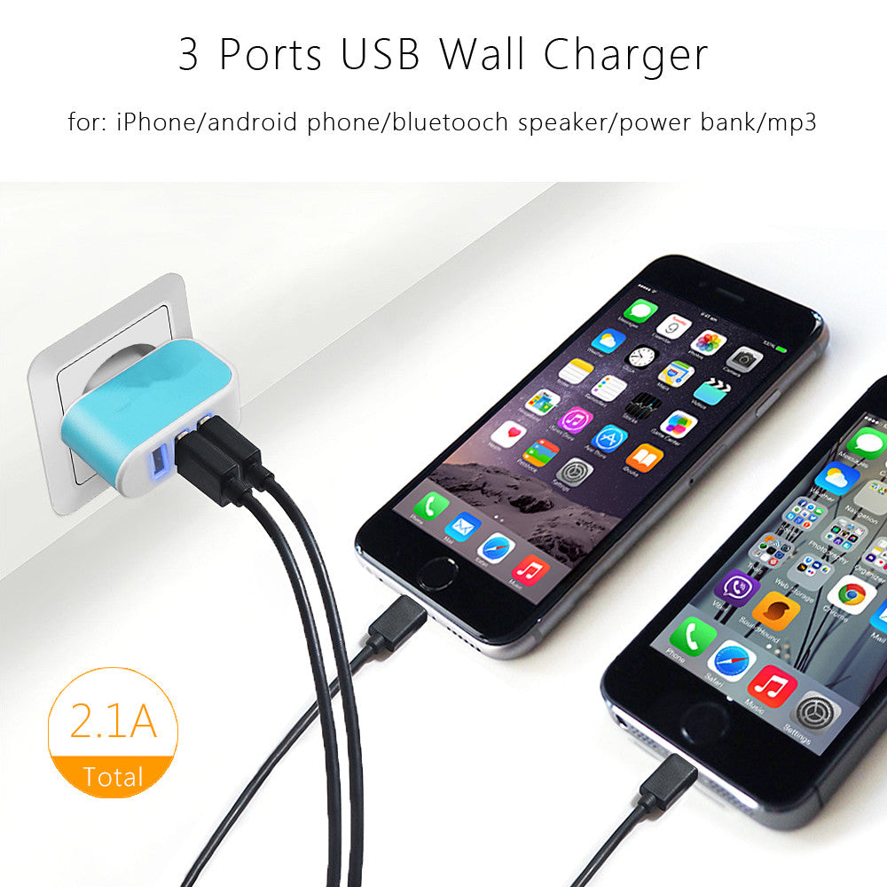3 Ports Micro USB Charging Mobile Adapter