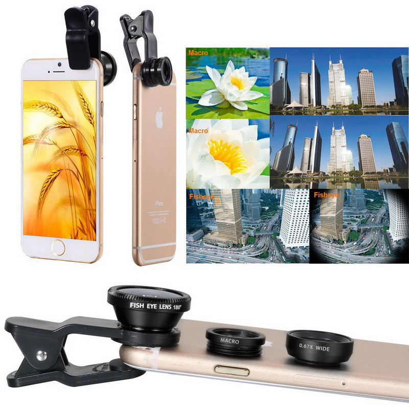 3 in 1 Wide Angle, Macro & Fisheye Lenses Universal Camera Mobile Phone