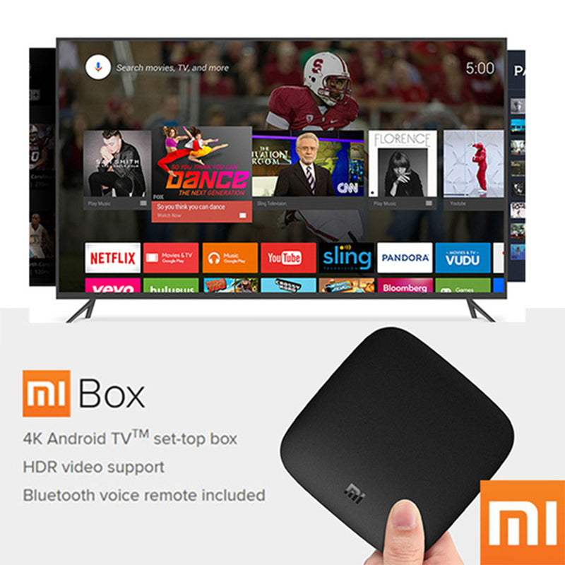 Xiaomi MI BOX 3 Android TV 6.0 Smart WIFI Bluetooth Quad Core Set-Top Box with Youtube 4K DTS IPTV Media Player