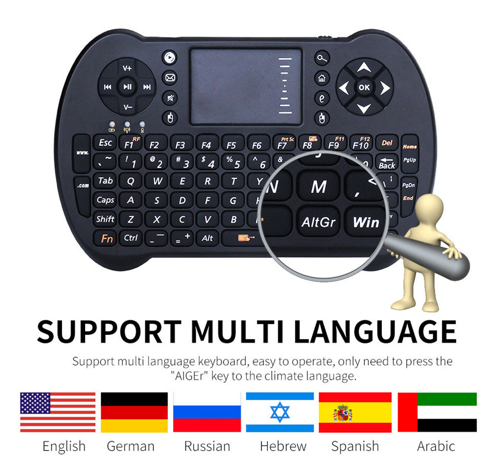 2.4G Mini USB Wireless Keyboard Touchpad Air Mouse Fly Mouse Remote Control for Android TV Box Laptop PC