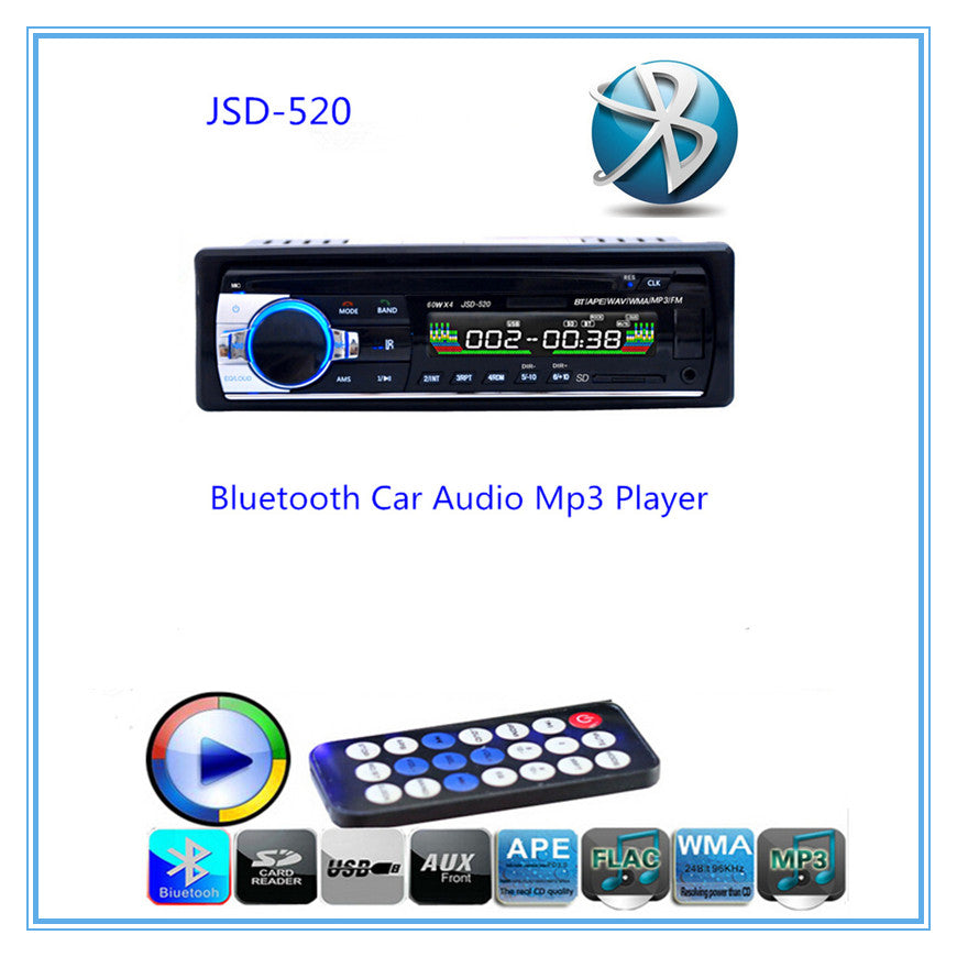 Hands-free Calls Autoradio Bluetooth Audio Stereo In-Dash FM Aux Input Receiver USB Disk SD Card With Remote