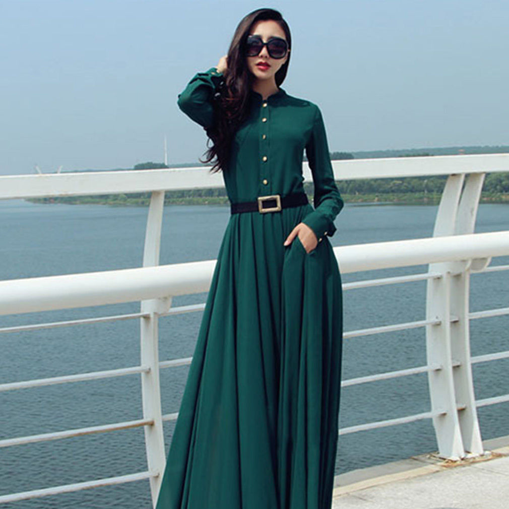 Retro Vintage Long Sleeve Turn-down Collar Cocktail Maxi Long Dress