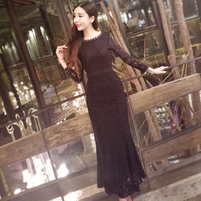Sexy Package Hip Lace O-Neck Long Sleeve Dress