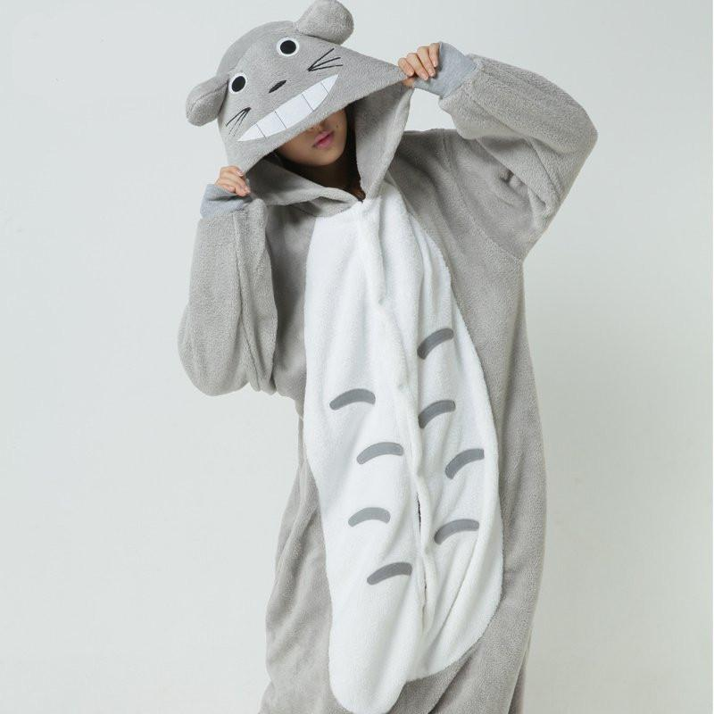 Cute Unisex Adult Flannel Animal Pyjama Suits