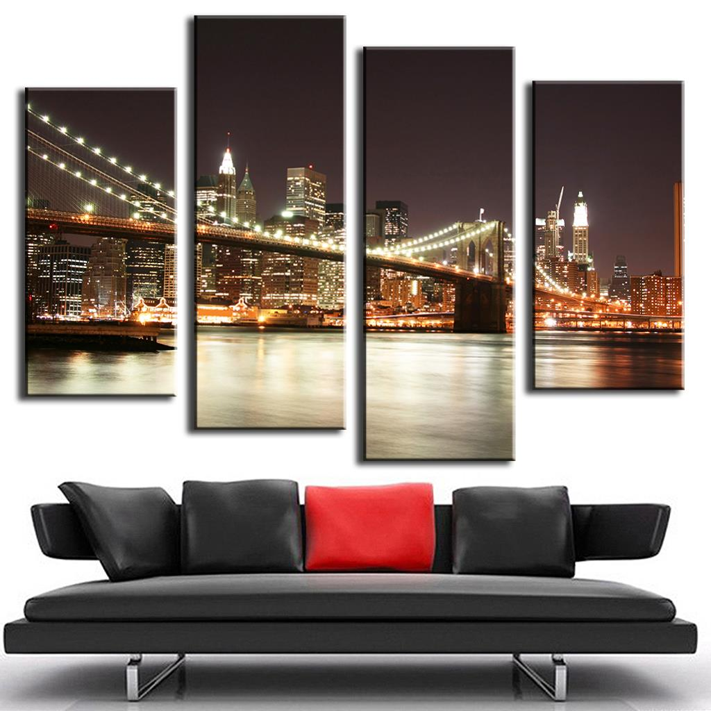 Combined Bridge Night Canvas Prints For Living Bedroom