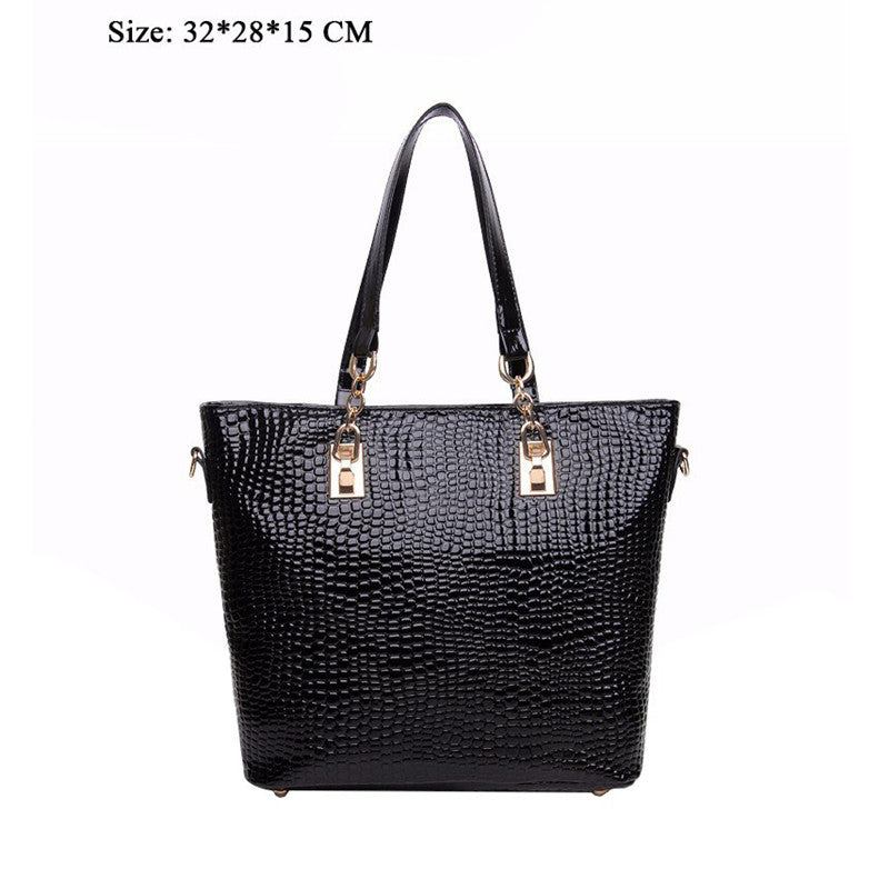 High-Quality Crocodile Pattern PU Leather Clutch Composite Bags 6 Pieces Sets