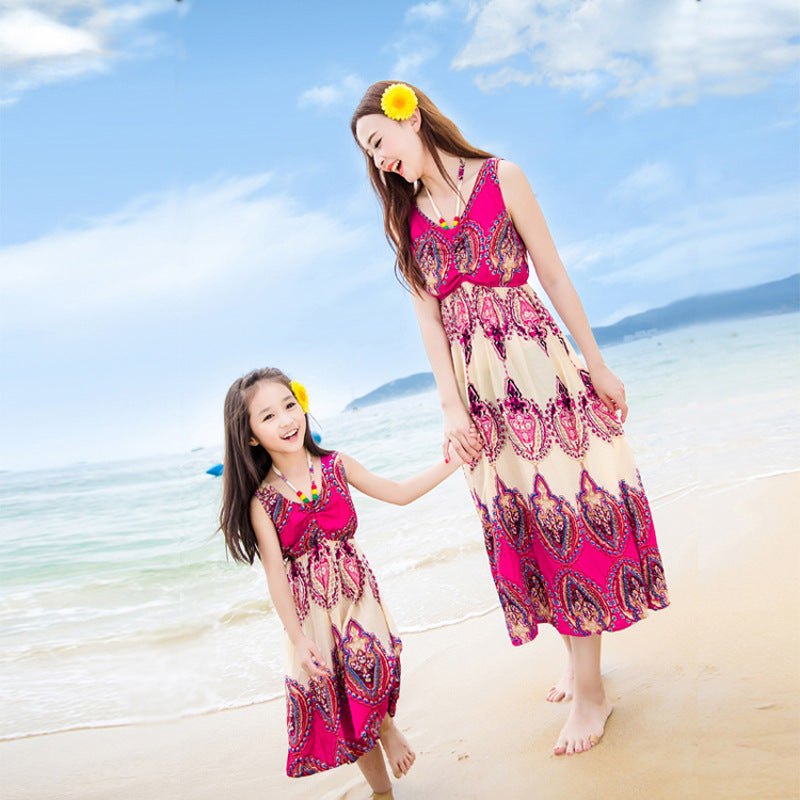 Mother and Daughter Matching Outfit Bohemian Floral Dress