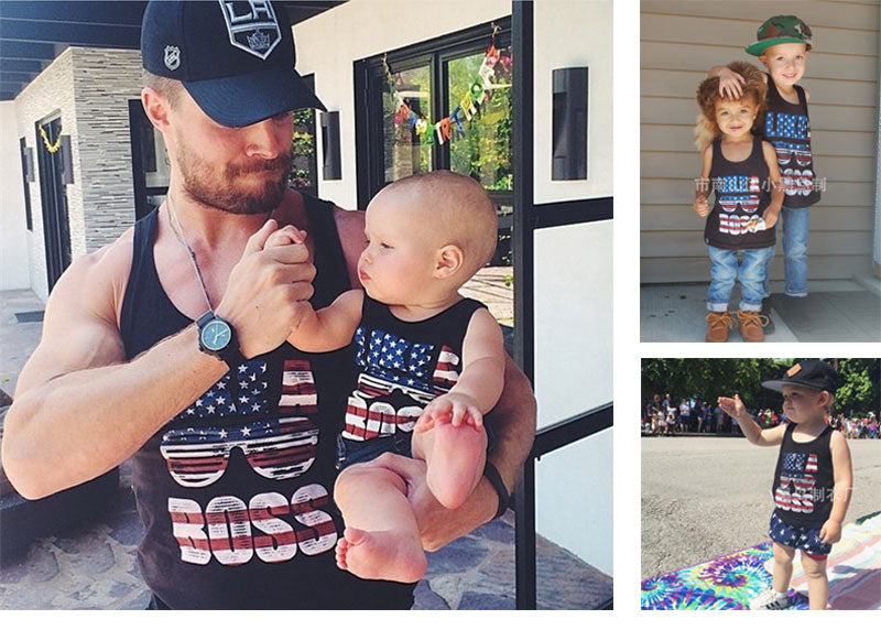Sleeveless Tees America Flag Father Son Matching Outfits
