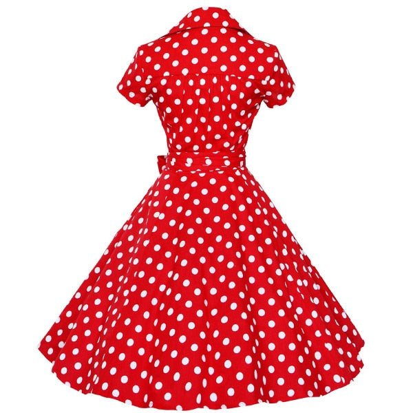 Retro Vintage Pin Up 50s 60s Polka Dots Short Sleeve Cotton Dress