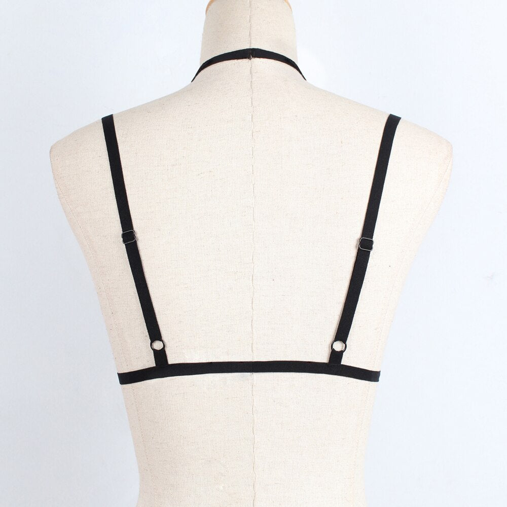 Hollow Halter Bandage Elastic Cage Strappy Bra Tops