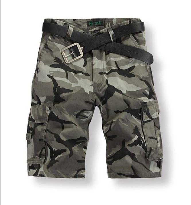 Casual Knee-Length Pleated Camouflage Shorts