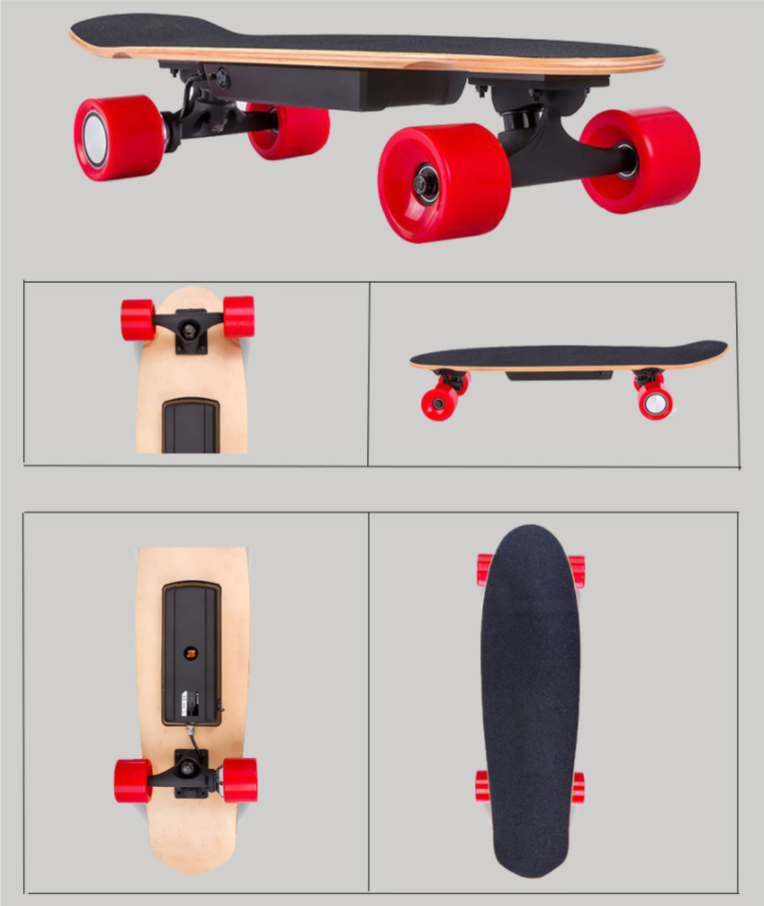 Electric Foldable Double Brake Four Wheels Skateboard