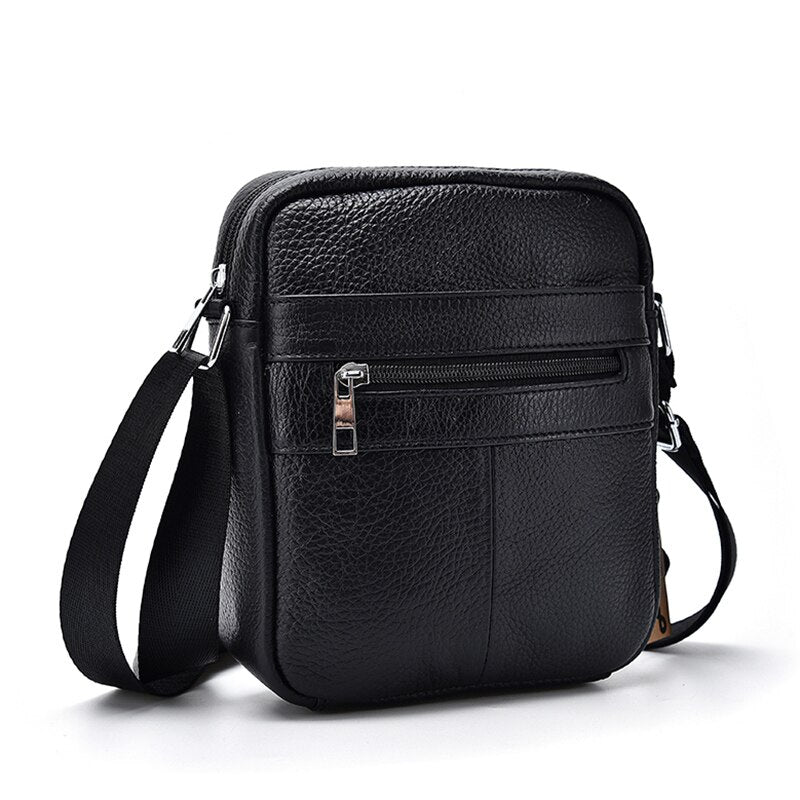 Large Capacity Genuine Cow Leather Men Business Messenger Bag