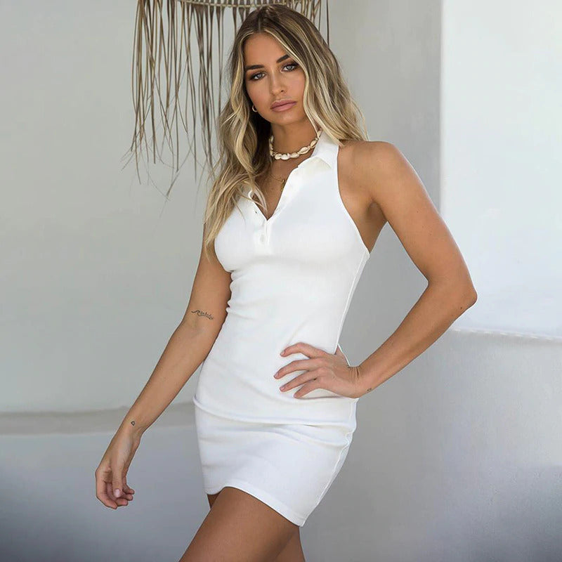 Off Shoulder Backless V-Neck Front Button Halter Mini White Dress