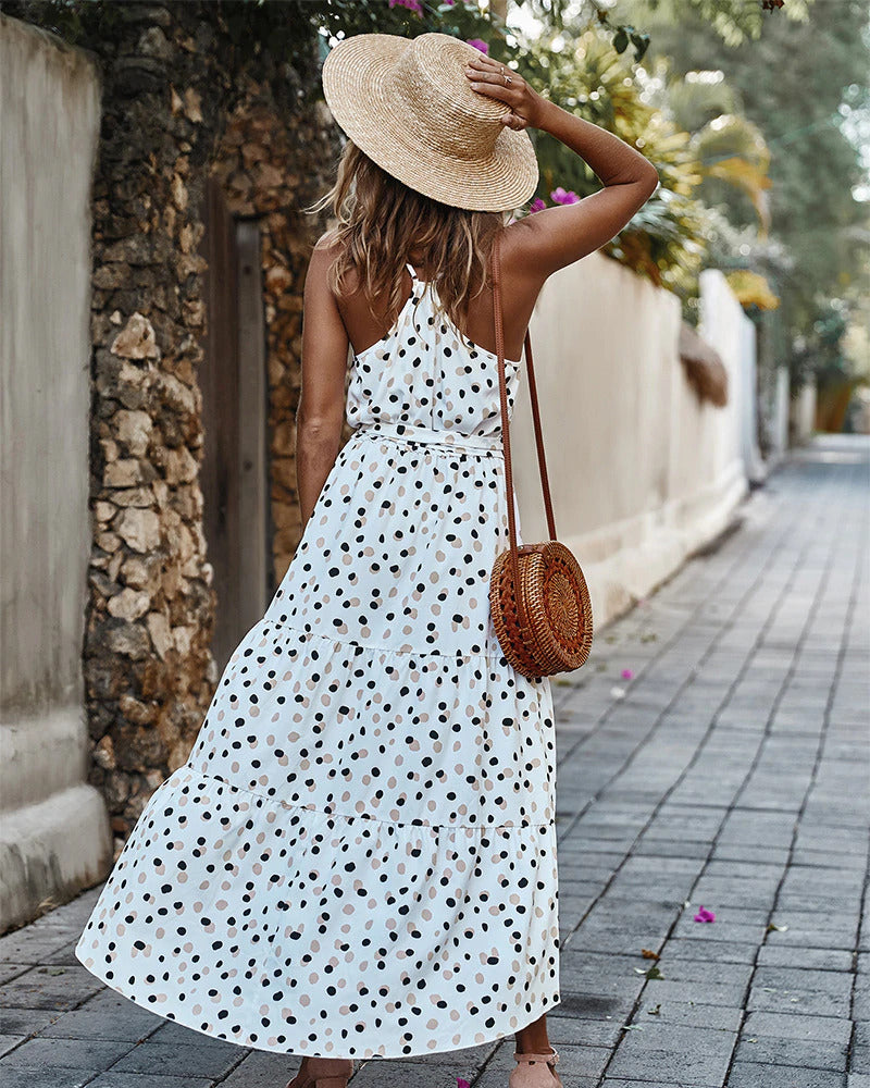 High Waist Sleeveless Lace Up Dot Printed Maxi Sundress