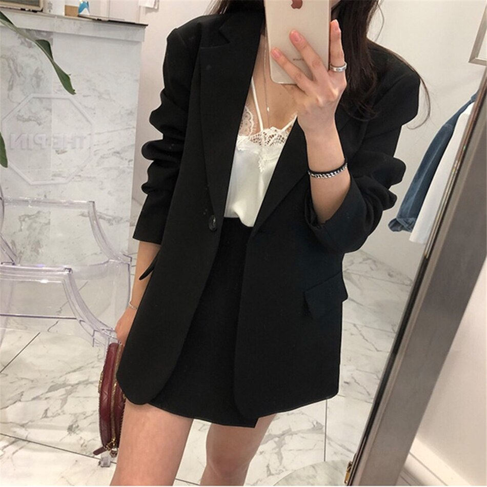 Single Button Loose Solid Color Thin Women's Black Suit With Shorts