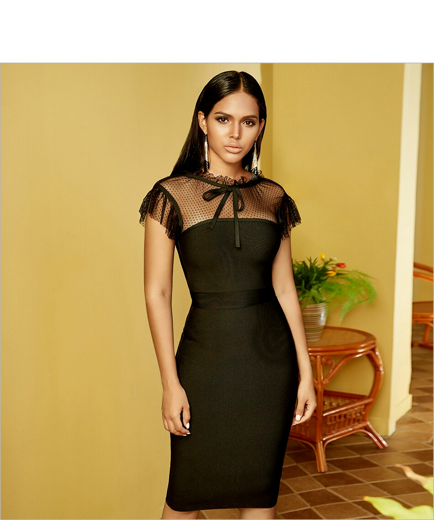 Bodycon Lace Ruffles Bandage Black Midi Dress