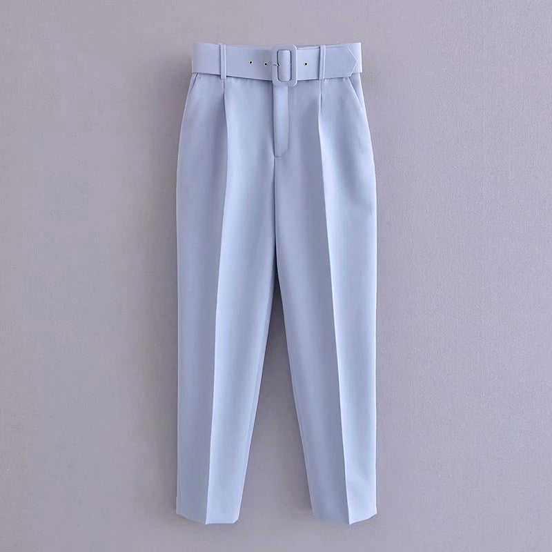 Retro High Waist Solid Color Sashes Slim Women's Blue Pants