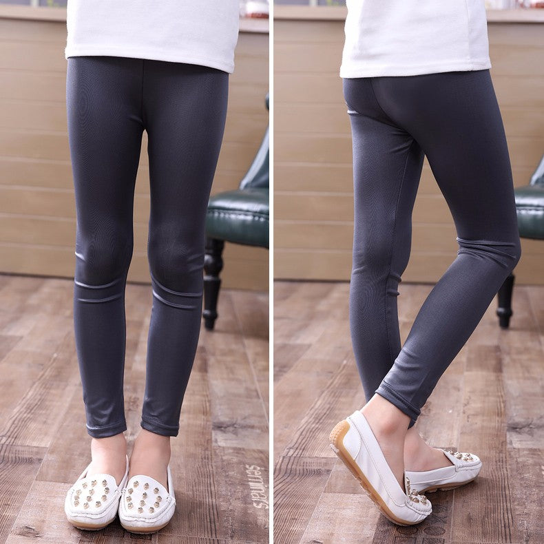 Elastic Waist Solid Skinny Faux Leather Pencil Leggings
