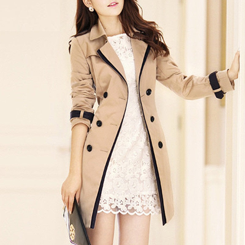 Double Breasted Long Sleeve Turn-Down Collar Slim Trench Coat
