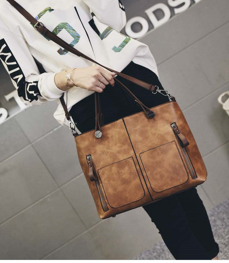 Causal Vintage For Daily Shopping PU Solid Women Shoulder Bag