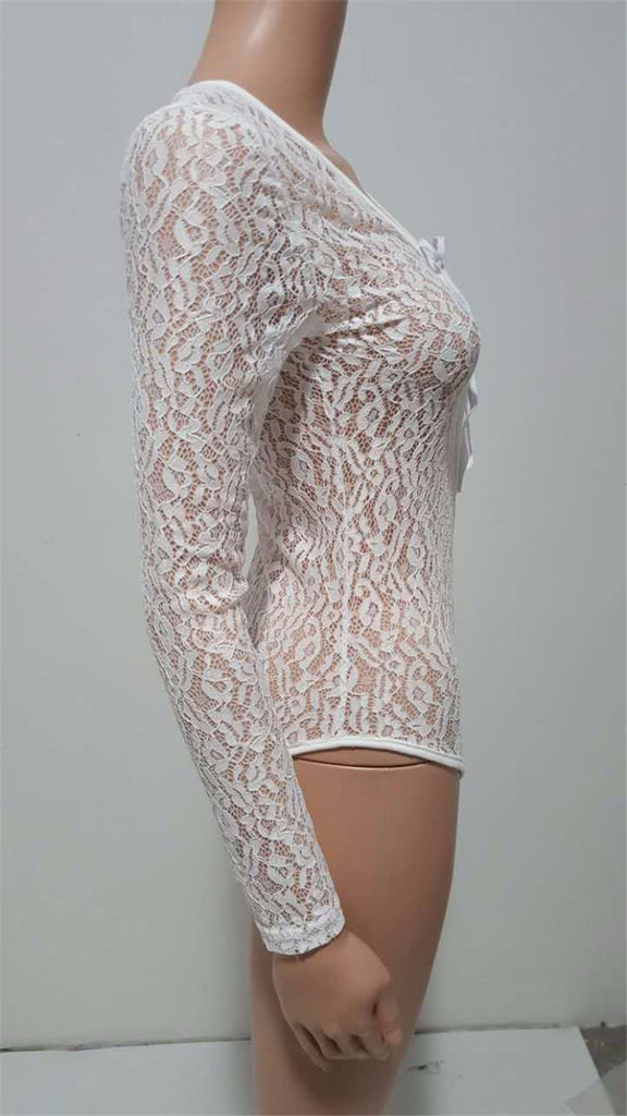 Hollow Out Deep V Sexy Bodycon White Lace Jumpsuit