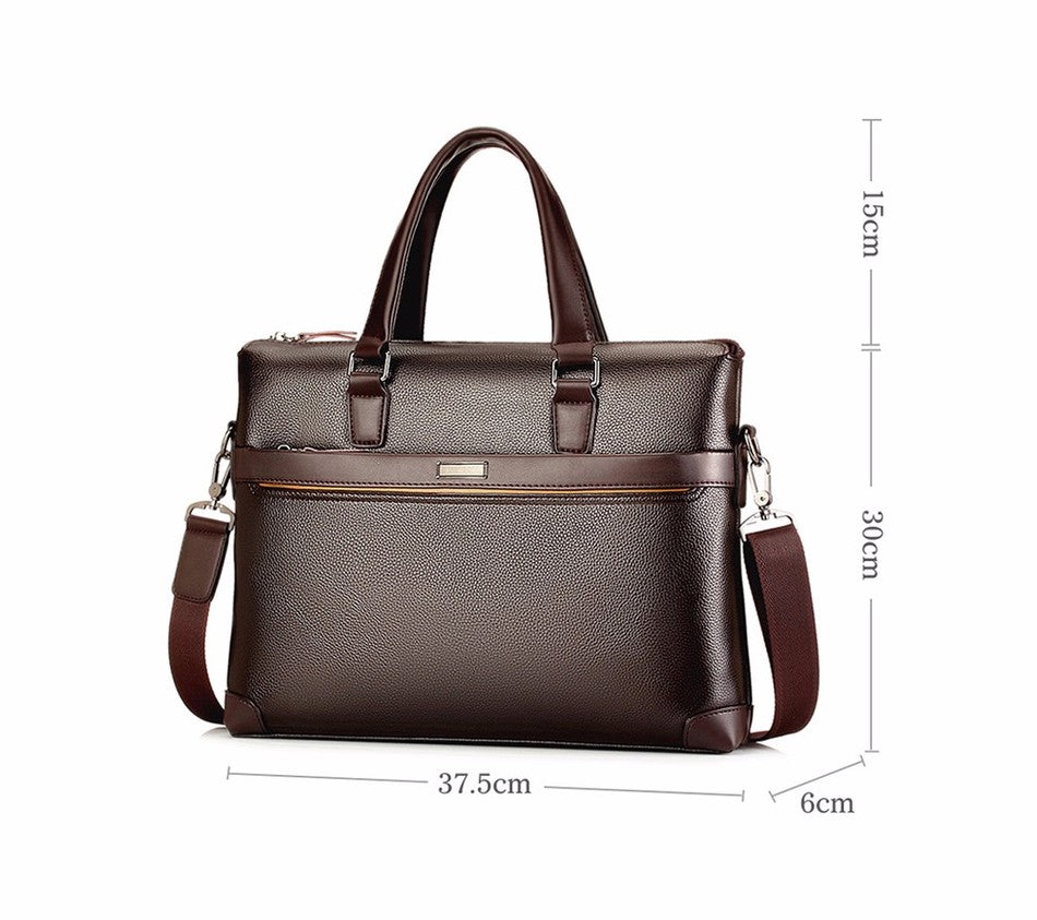 Fashion Black Brown Business Briefcase Bag Leather Laptop Shoulder Bag