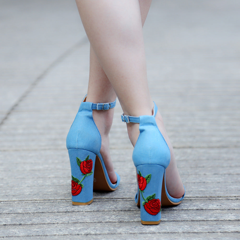 Pretty Faux Suede Embroider High Heel Ethnic Floral Sandals
