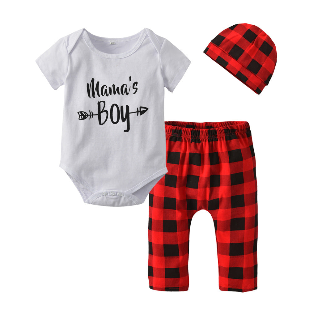 3Pcs Letter Mama's Boy Summer Romper & Pants & Cap Toddler Clothing Suit