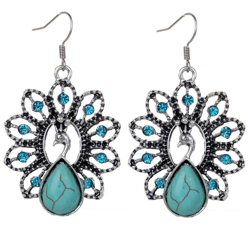 Bohemian Retro National Peacock Turquoise Pendant Necklace Earrings Suit Jewelry Sets