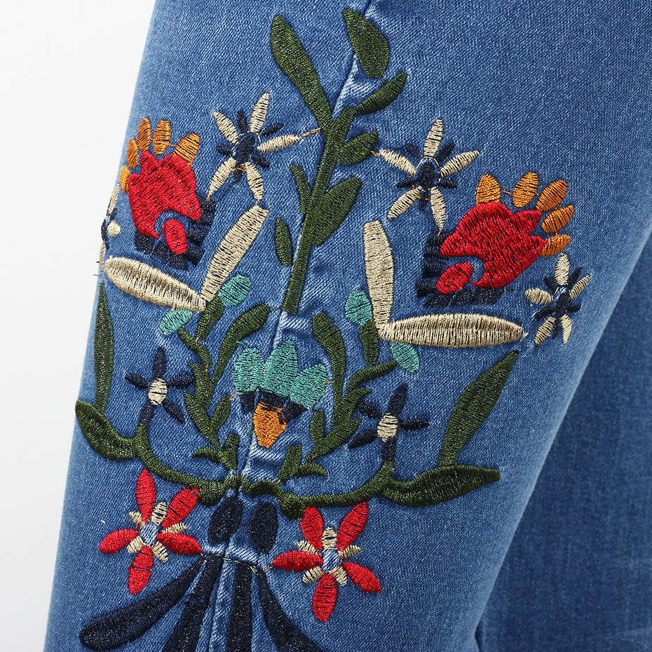 Floral Embroidery Pencil Skinny Women Jeans Pant