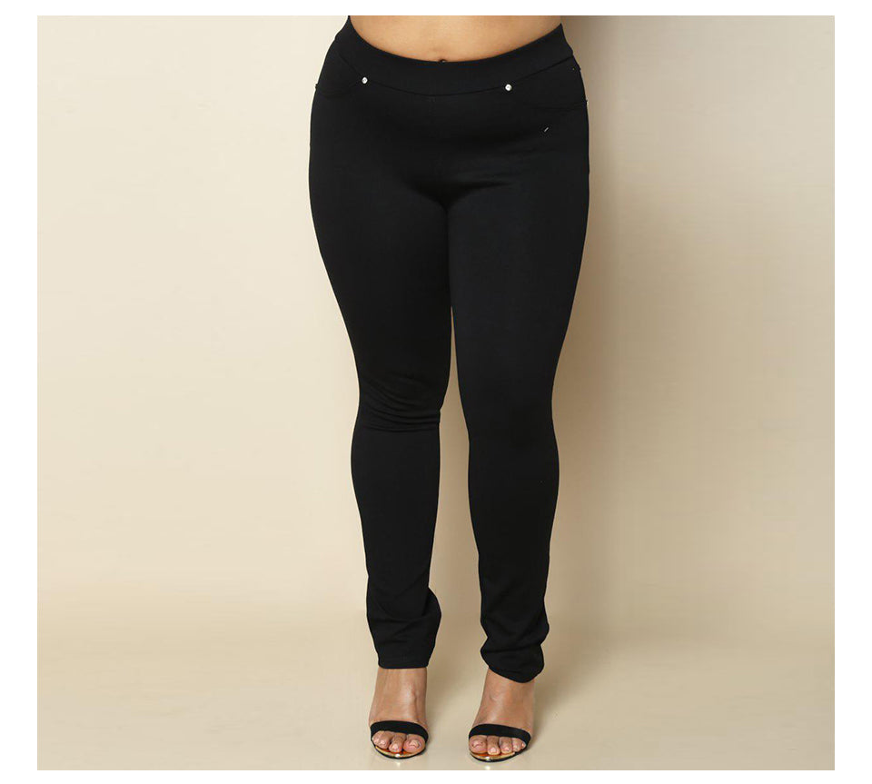 Plus Size High Waist Elastic Solid Skinny Women's Pencil Pant