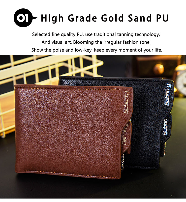 Famous Brand RFID Theft Protect Coin Bag Zipper Men Wallet