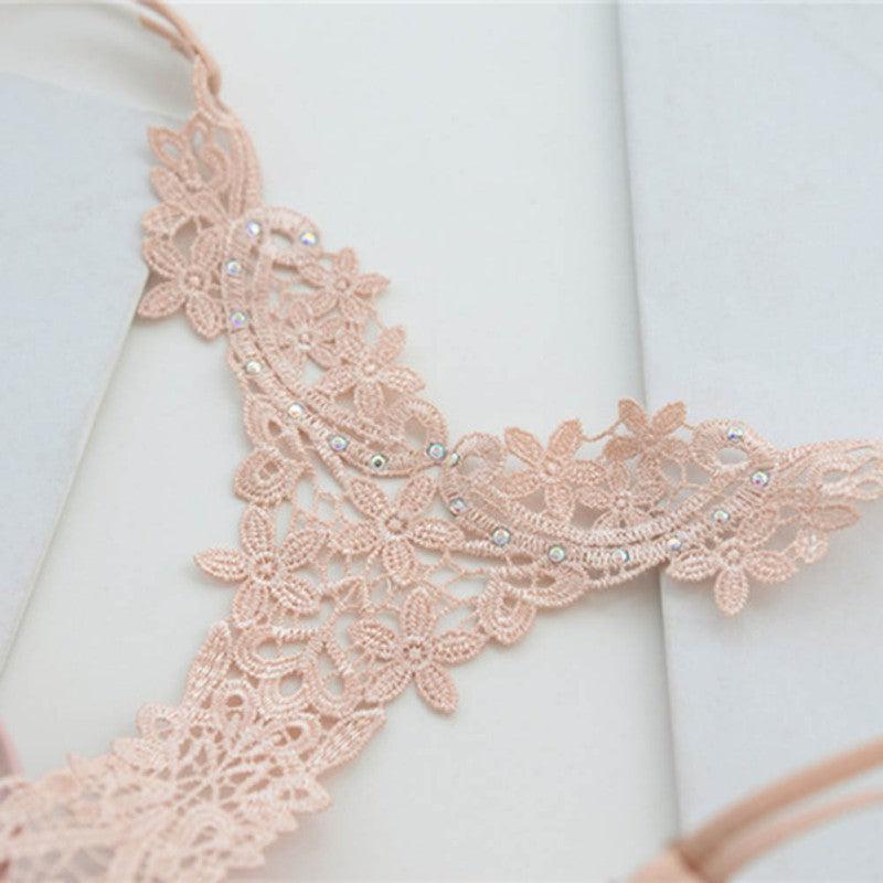 Sexy Lace Front Closure Hollow Back Push Up Bra