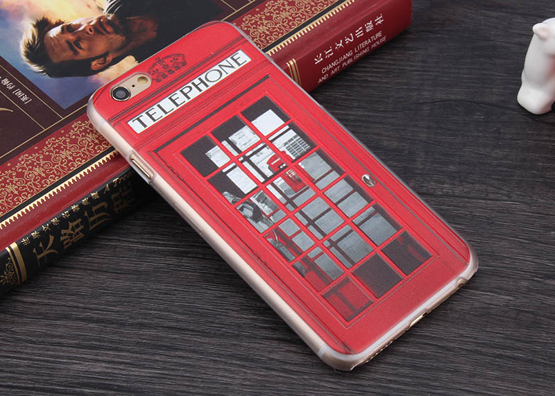 For 3D Hard Case Sherlock Holmes and John Watson in Door 221B Design, London Old Fashion Telephone Booth