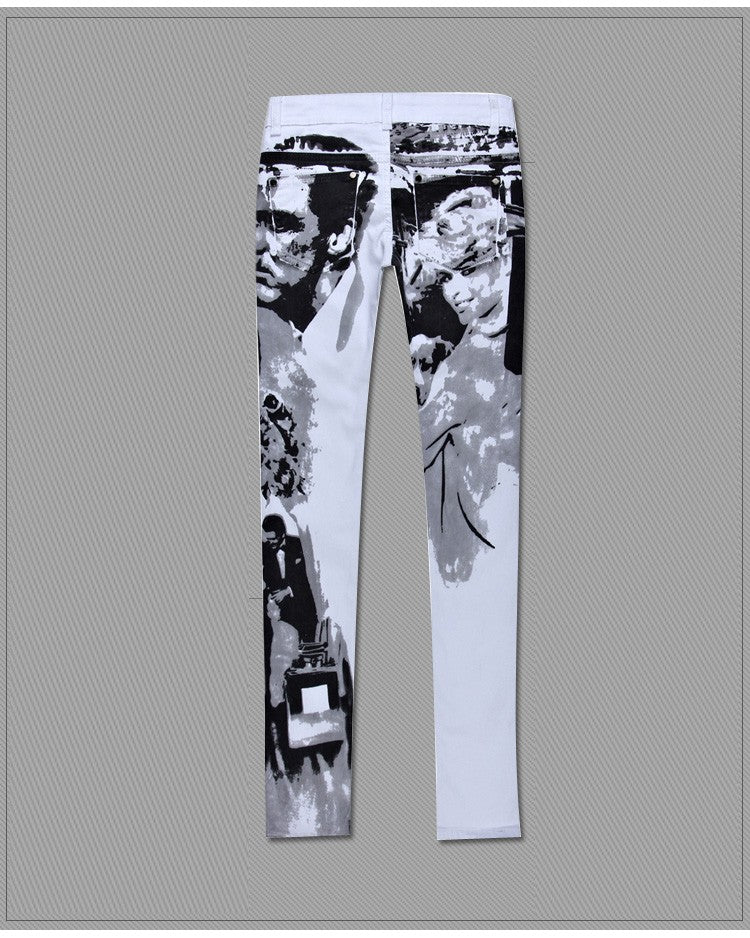 Flower Print Classic Black And White Personalized Vintage Skinny Jeans Trousers