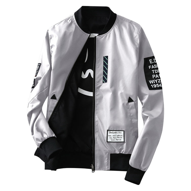 Casual Both Side Wear Thin Windbreaker Men Bomber Jacket With Patches