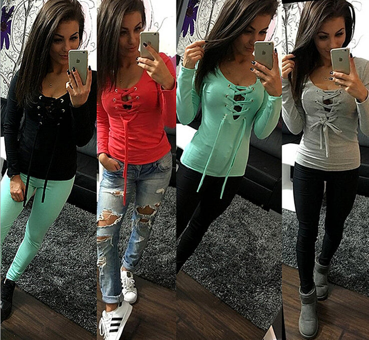 Long Sleeve Lace Up Slim Bandage Bottoming Shirt