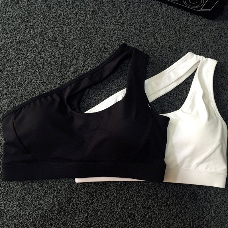 Breathable ShockProof One Shoulder Padded Solid Sports Bra Top
