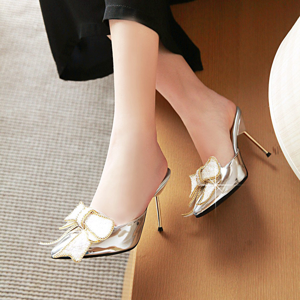 Pointed Toe Crystal Stiletto High Heels Women Slippers