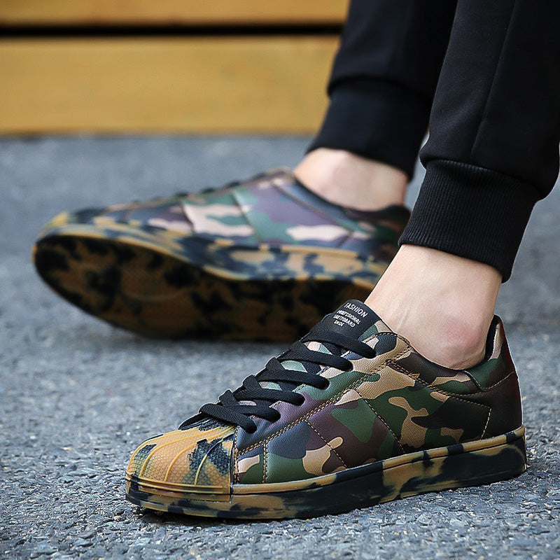 Casual Graffiti Korean Breathable Army Green Flat Lovers Shoes