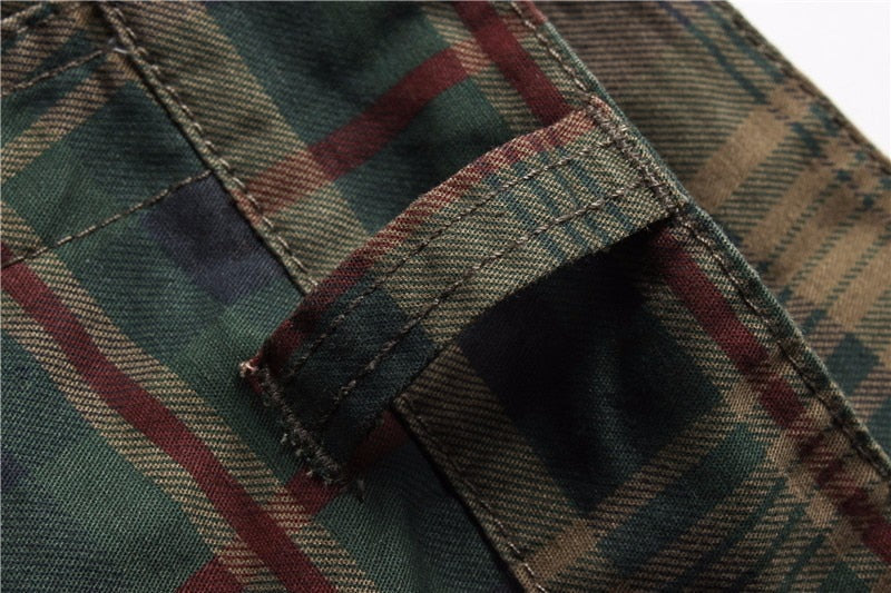 Camouflage Multi Pockets Loose Plaid Military Men Bermuda