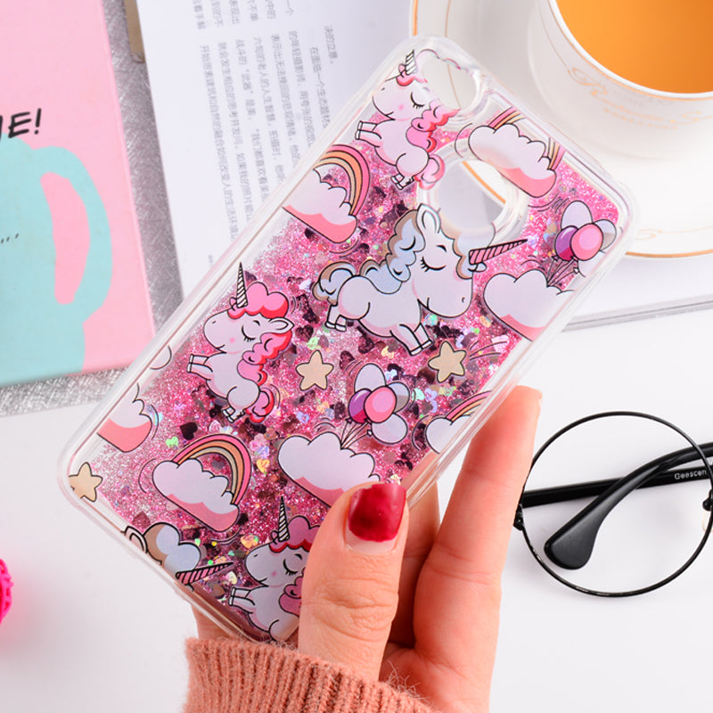 Girls Quicksand Liquid Glitter Phone Case For Xiaomi Redmi Note 4x