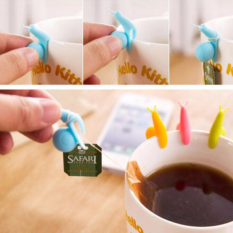 Cute 6 PCS/Set Snail Shaped Silicone For Mug Cup Tea Bag